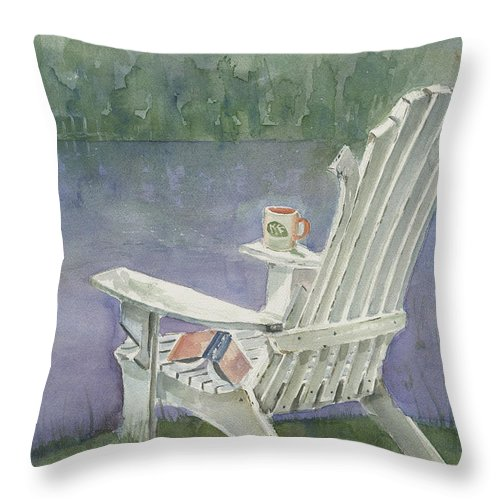 Chair Throw Pillow featuring the painting Lawn Chair By The Lake by Arline Wagner