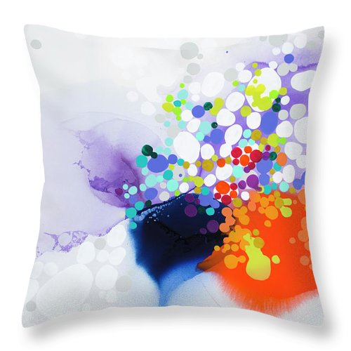 Abstract Throw Pillow featuring the painting Lay The Blame by Claire Desjardins