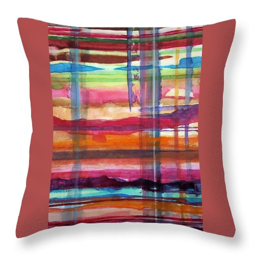 Abstract Throw Pillow featuring the painting Layered by Suzanne Udell Levinger