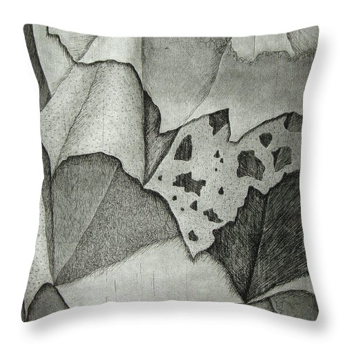 Etching Throw Pillow featuring the drawing Layers by Nancy Mueller