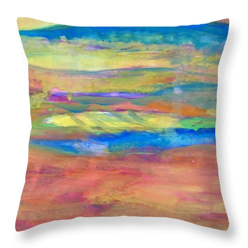 Abstract Throw Pillow featuring the painting Layers Of Light by Judith Redman