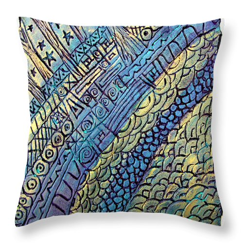 Abstract Throw Pillow featuring the painting Layers Of Our Lives by Wayne Potrafka