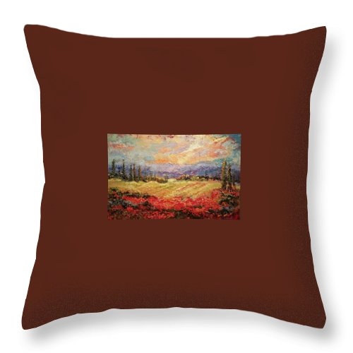 Italian Vineyards Throw Pillow featuring the painting Layers of Tuscany by Ginger Concepcion