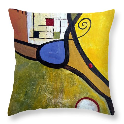 Abstract Throw Pillow featuring the painting Lazy Days by Ruth Palmer