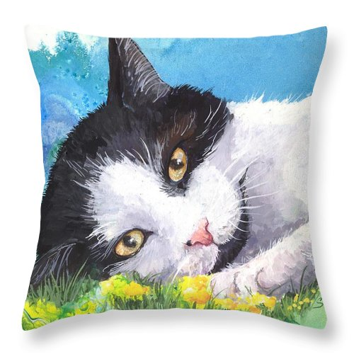 Cat Throw Pillow featuring the painting Lazy Days by Sherry Shipley