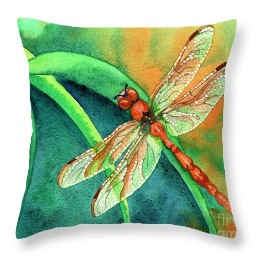 Dragonfly Throw Pillow featuring the painting Lazy Days by Tracy L Teeter
