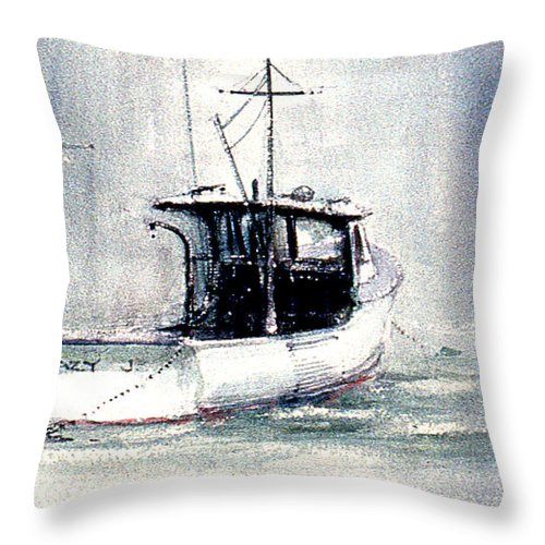 Fishing Trawler Throw Pillow featuring the painting Lazy J by Jacob Krapowicz