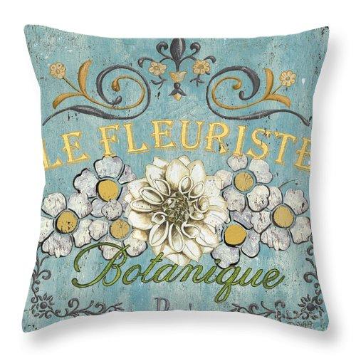 Flowers Throw Pillow featuring the painting Le Fleuriste de Botanique by Debbie DeWitt