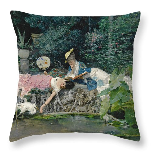 Vincente Capobianchi Throw Pillow featuring the painting Le Heron Familier by Vincente Capobianchi