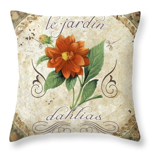 Le Jardin Dahlias Throw Pillow featuring the painting Le Jardin Dahlias by Mindy Sommers