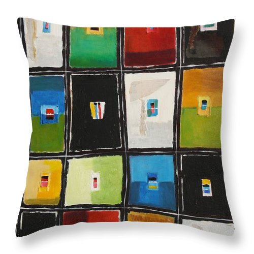 Abstract Throw Pillow featuring the painting Le Language Des Couleurs by Habib Ayat
