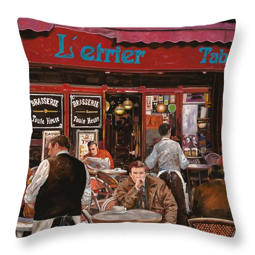 Brasserie Throw Pillow featuring the painting Le Mani In Bocca by Guido Borelli