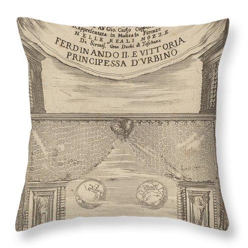 Throw Pillow featuring the drawing Le Nozze Degli Dei: Frontispiece by Stefano Della Bella
