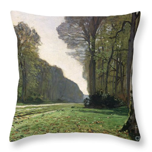 The Throw Pillow featuring the painting Le Pave de Chailly by Claude Monet