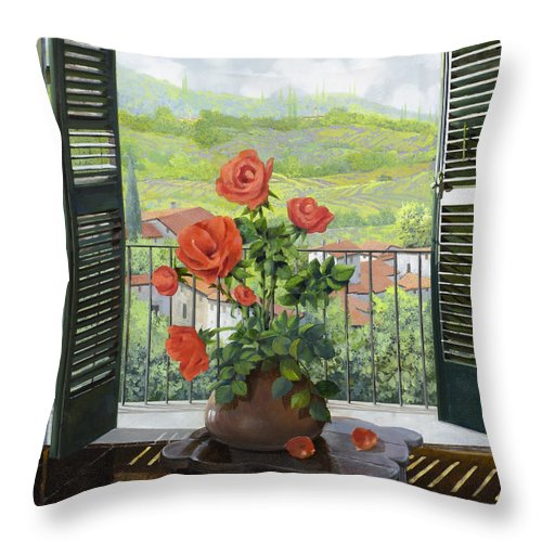Landscape Throw Pillow featuring the painting Le Persiane Sulla Valle by Guido Borelli
