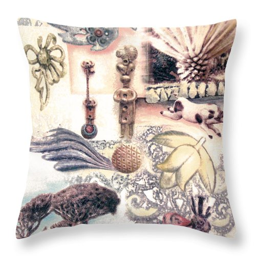 Abstract Throw Pillow featuring the painting Le Petite Pig Does Fly by Valerie Meotti