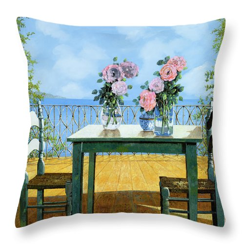 Terrace Throw Pillow featuring the painting Le Rose E Il Balcone by Guido Borelli