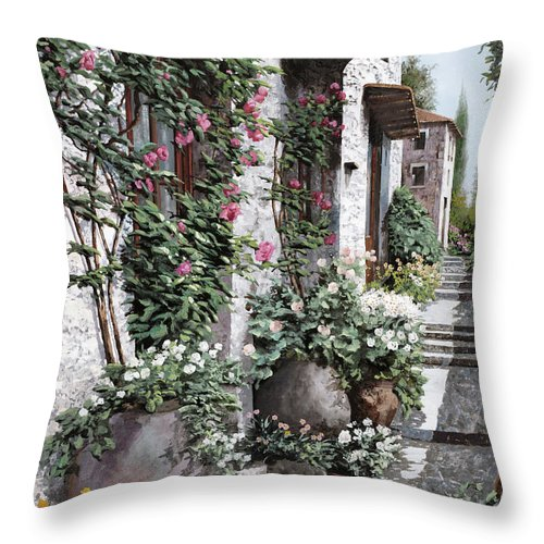 Arch Throw Pillow featuring the painting Le Rose Rampicanti by Guido Borelli