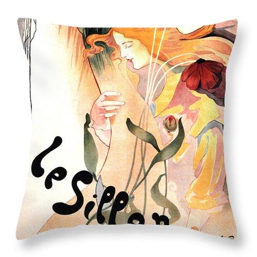 Vintage Throw Pillow featuring the mixed media Le Sillon - The Path - Vintage Art Nouveau Poster by Studio Grafiikka