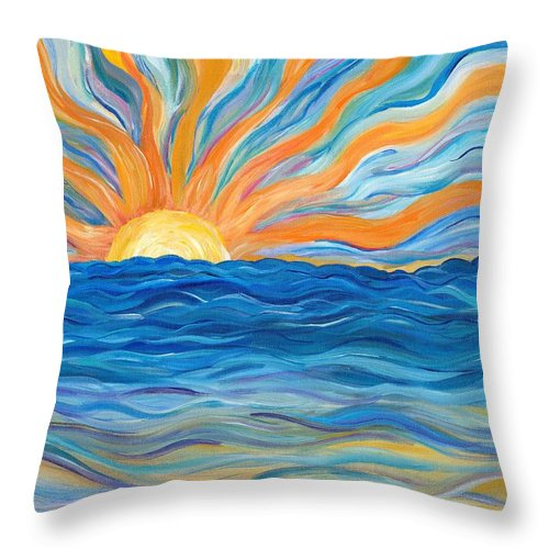Sunrise Throw Pillow featuring the painting Le Soleil by Bev Veals