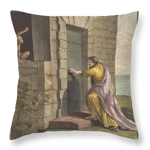 Throw Pillow featuring the drawing Le Thesauriseur Et La Singe (the Miser And The Monkey) by Pierre Francois Martenasie After Jean-baptiste Oudry