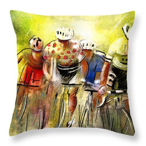 Sports Throw Pillow featuring the painting Le Tour De France 07 by Miki De Goodaboom