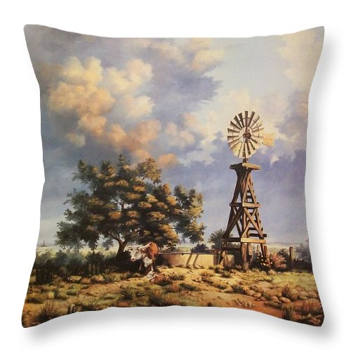 A New Mexico Landscape. Throw Pillow featuring the painting Lea County Memories by Wanda Dansereau