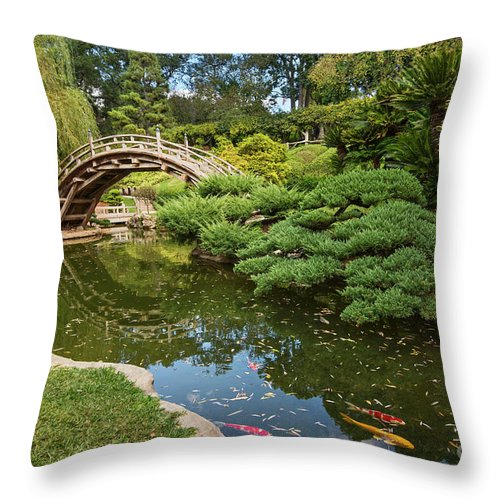 Japanese Garden Throw Pillow featuring the photograph Lead The Way - The Beautiful Japanese Gardens At The Huntington Library With Koi Swimming. by Jamie Pham