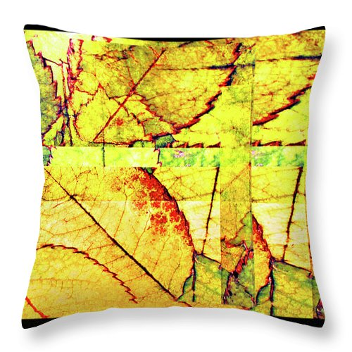 Autumn Throw Pillow featuring the digital art Leaf Abstract by Joan Minchak