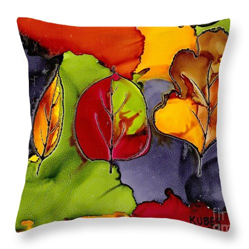 Leaf Throw Pillow featuring the painting Leaf Brilliance by Susan Kubes