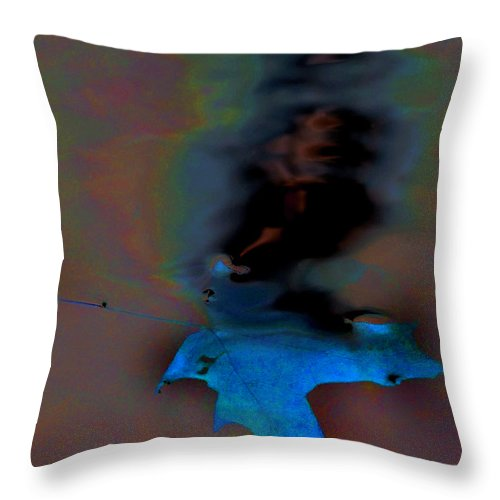 Golden Throw Pillow featuring the photograph Leaf In Water by Steve Somerville