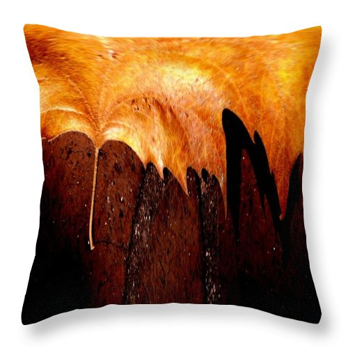 Leaf Throw Pillow featuring the photograph Leaf On Bricks 2 by Tim Allen