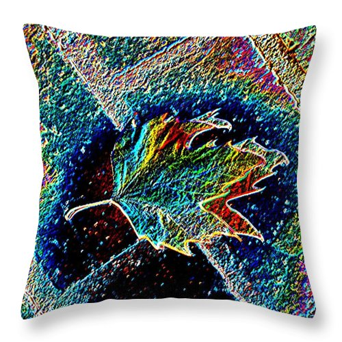 Leaf Throw Pillow featuring the photograph Leaf On Bricks 3 by Tim Allen