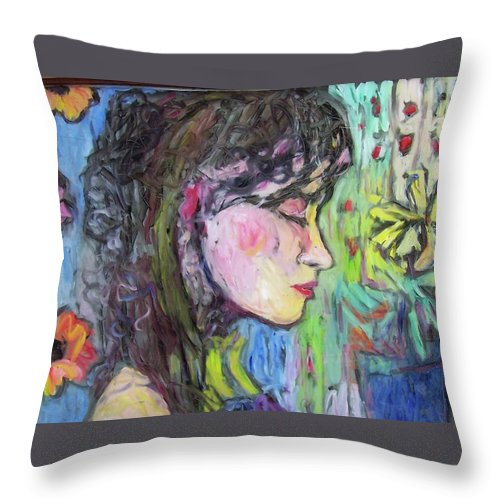 Female Throw Pillow featuring the painting Leahannah Up Close by Mykul Anjelo