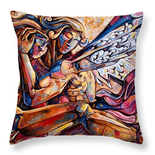 Surrealism Throw Pillow featuring the painting Lean On Me by Darwin Leon