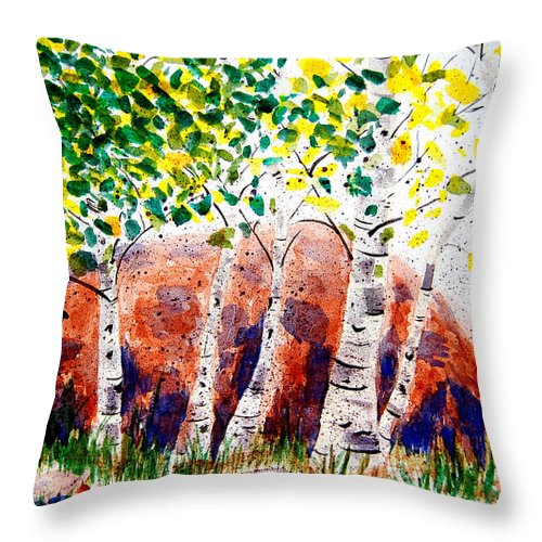Nature Throw Pillow featuring the painting Lean On Me by Donna Proctor