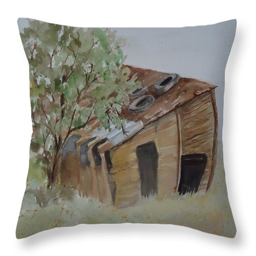 Shed Throw Pillow featuring the painting Leaning Esclante Shed by Charme Curtin