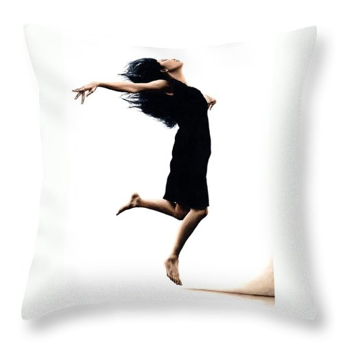 Ballet Throw Pillow featuring the painting Leap into the Unknown by Richard Young