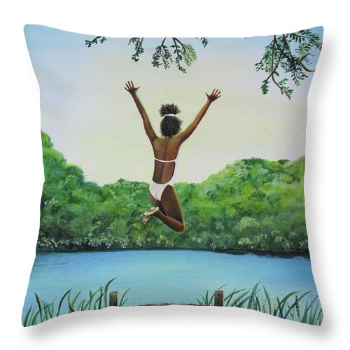 Summer Vacation Throw Pillow featuring the painting Leap Of Faith by Kris Crollard