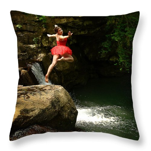 Ballerina Throw Pillow featuring the photograph Leap Of Faith by Lj Lambert