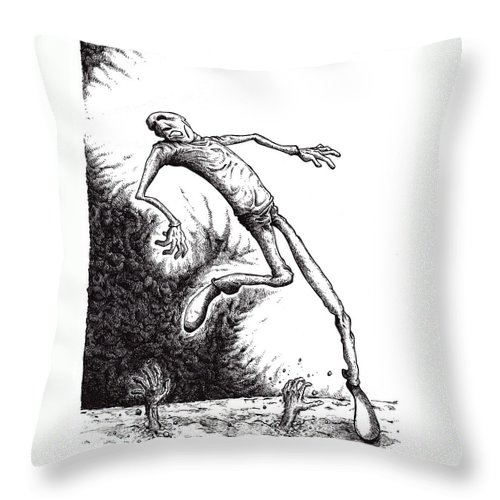 Black And White Throw Pillow featuring the drawing Leap by Tobey Anderson