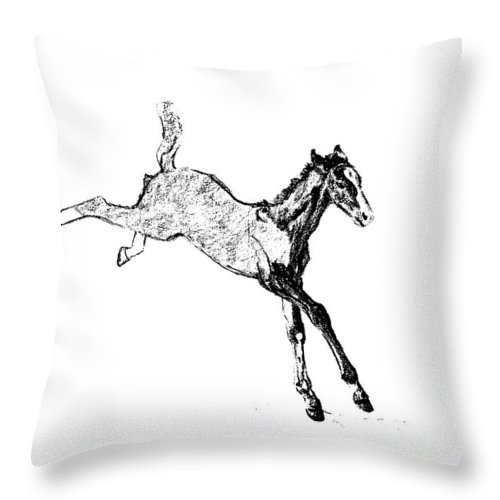 Horse Throw Pillow featuring the photograph Leaping Foal by JAMART Photography