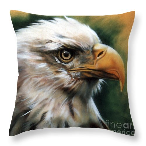 Southwest Art Throw Pillow featuring the painting Leather Eagle by J W Baker