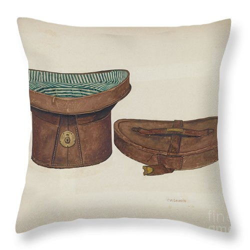 Throw Pillow featuring the drawing Leather Hat Box by Clarence W. Dawson