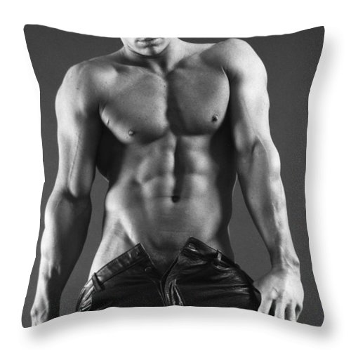 Male Nudes Throw Pillow featuring the photograph Leather Lothario by Thomas Mitchell