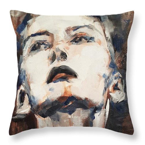 Woman Throw Pillow featuring the painting Leave While I Am Not Looking by Christel Roelandt