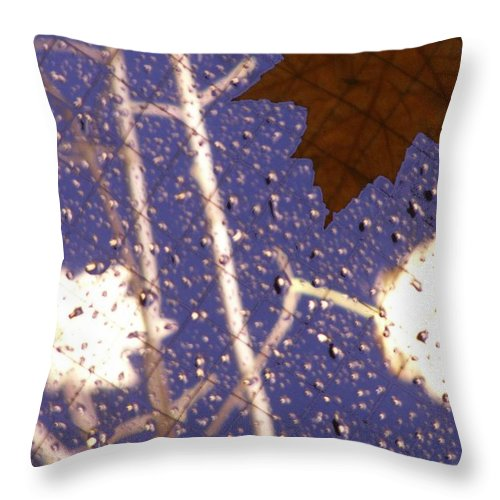 Leaves Throw Pillow featuring the photograph Leaves And Rain 2 by Tim Allen