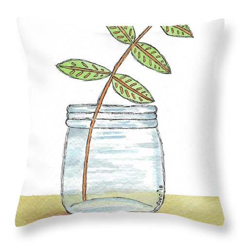 Watercolor And Ink Throw Pillow featuring the painting Leaves In A Jar by Susan Campbell