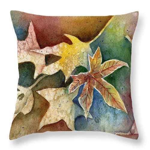 Leaf Throw Pillow featuring the painting Leaves Of Autumn by Arline Wagner