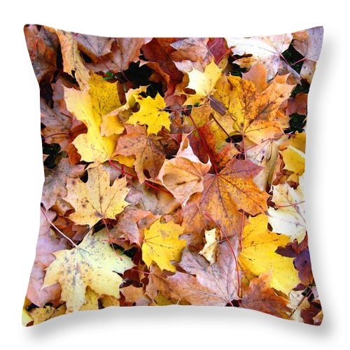 Leaves Throw Pillow featuring the photograph Leaves Of Fall by Rhonda Barrett
